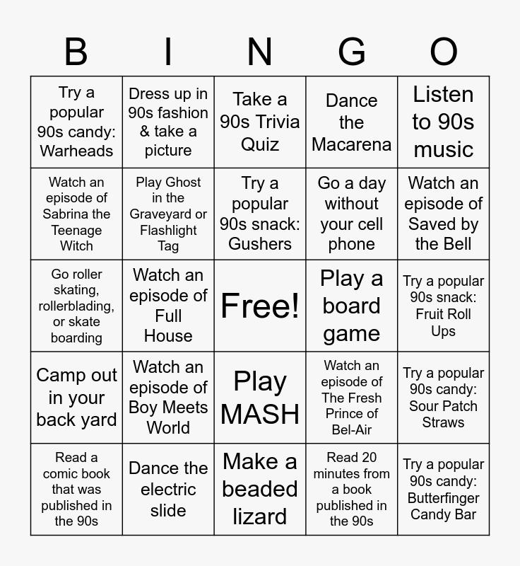 September Teen Challenge: 90s Throwback Bingo Card