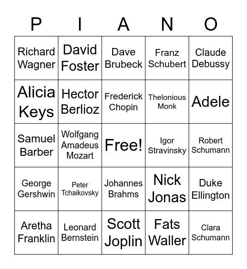 Famous Pianists Bingo Card