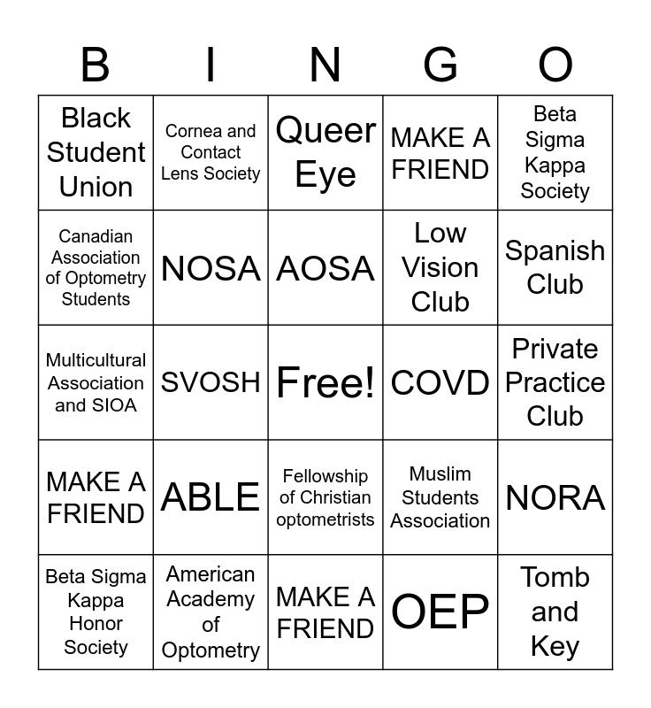 BLINDSPOT Bingo Card