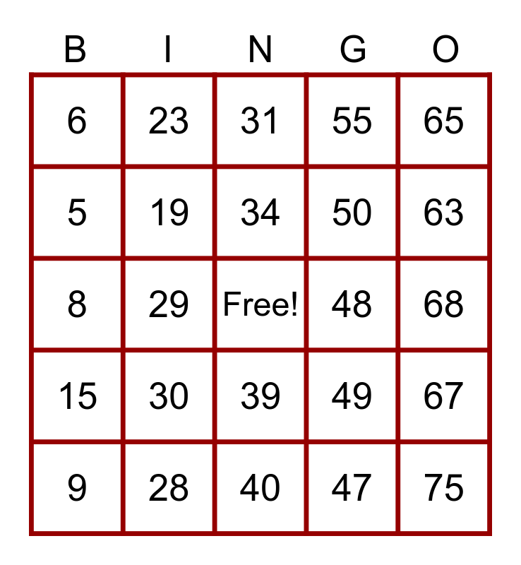 Back-to-School Bingo @  A-Week Bingo Card