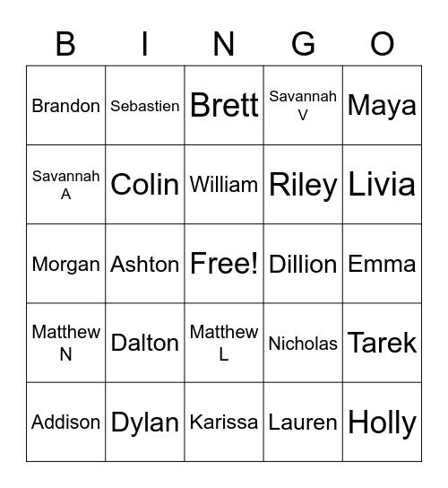 Period 1 Bingo Card