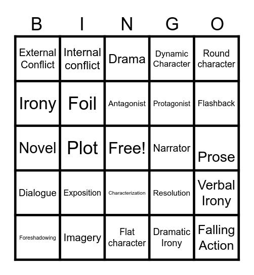 Literary Terms Bingo Card