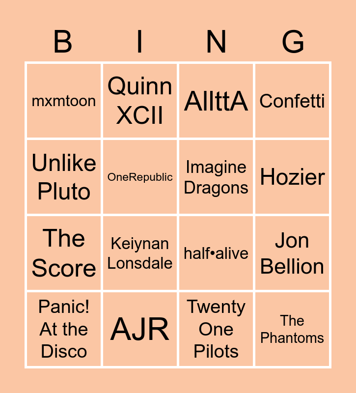 Nine's Music BING (updated) Bingo Card
