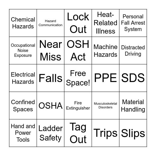 ELGA LabWater Safety Week 2020 Bingo Card