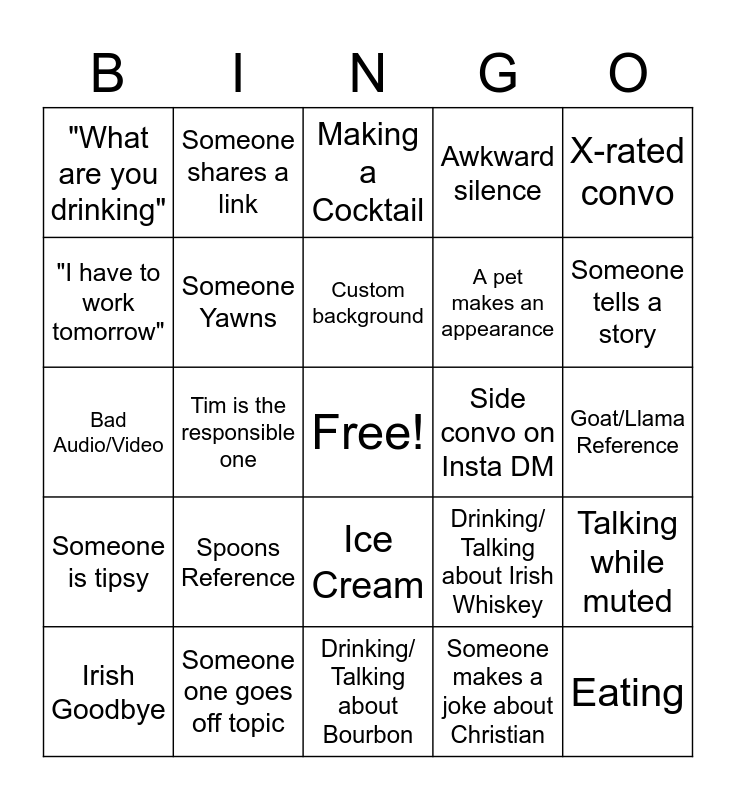 Whiskey Wednesdays Bingo Card