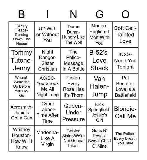 Total-Quiz.com Presents Radio Bingo: 80's Music Bingo Card