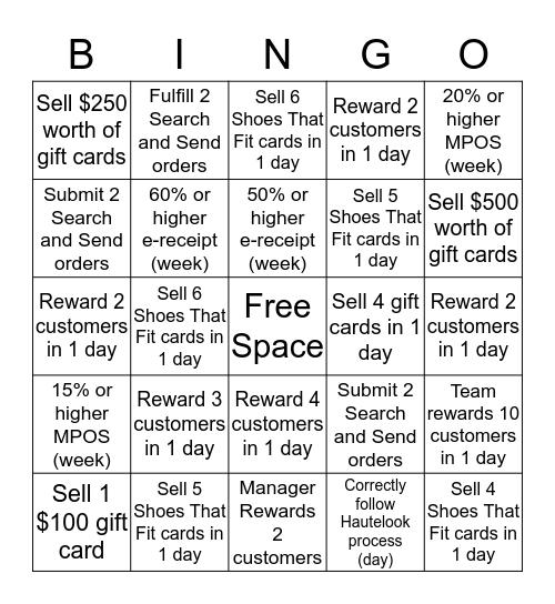 Service Experience Bingo Card