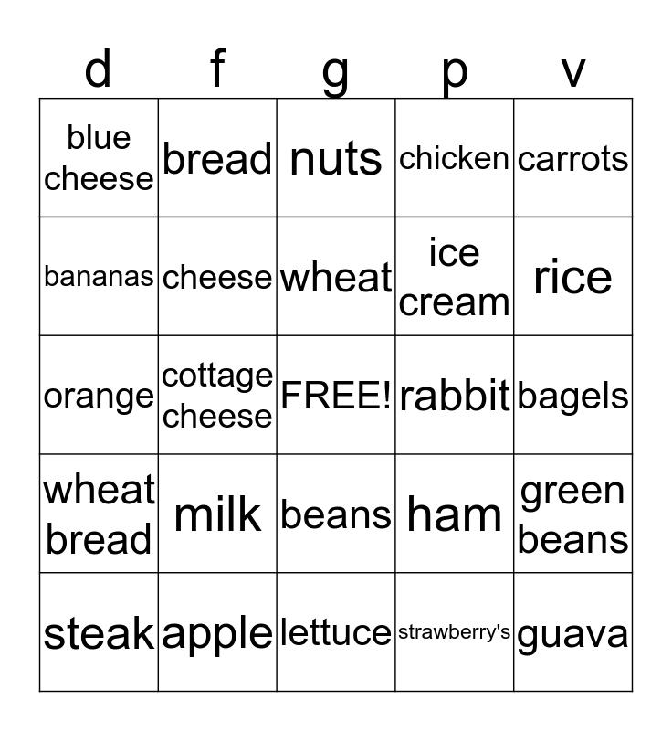 nutrtion Bingo Card