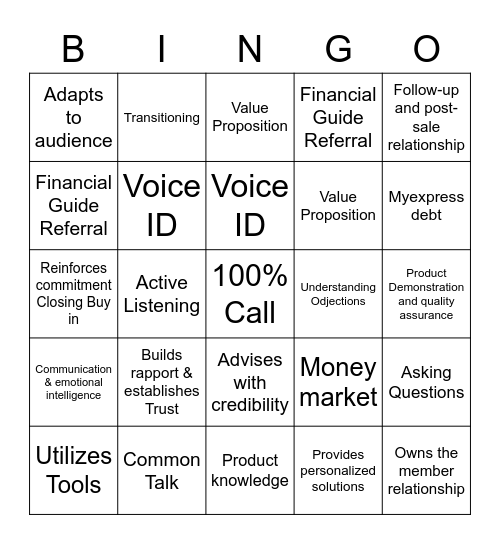 Member Service Guide & products Bingo Card
