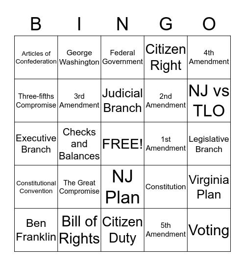 American Constitution and Civics Bingo Card