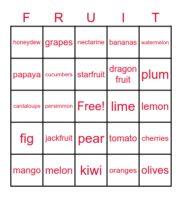 EAT FRUIT! Bingo Card