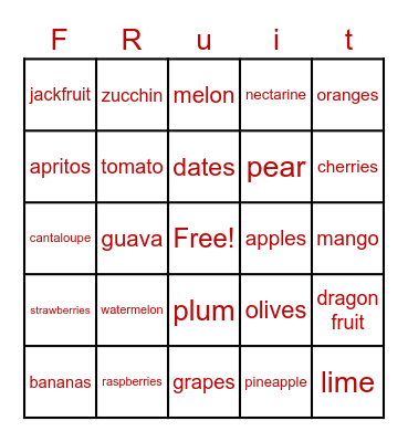 Eat Fruit Bingo Card
