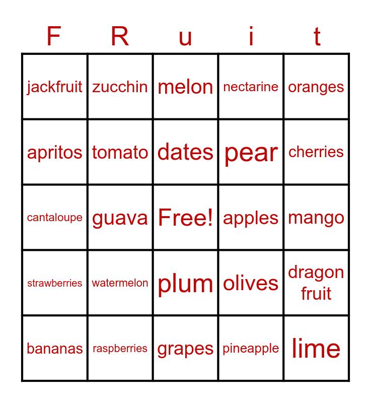 Eat Fruit Bingo Card