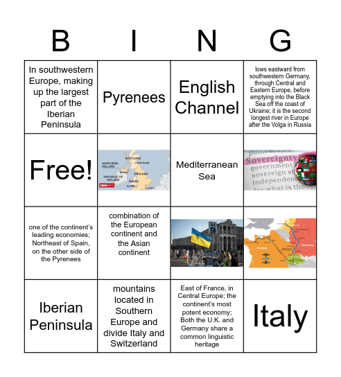 G7 Vocabulary BINGO Activity Bingo Card