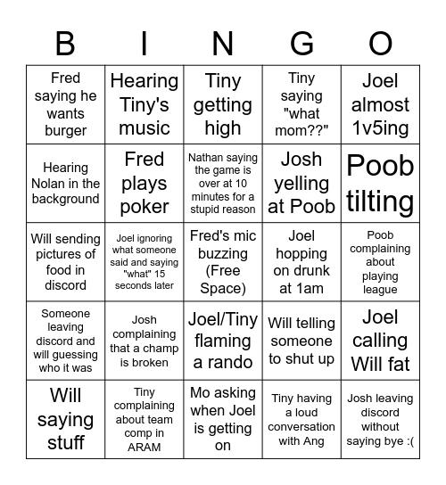 League Bingo Card