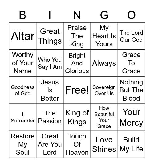 Mosaic Songlist Bingo Card