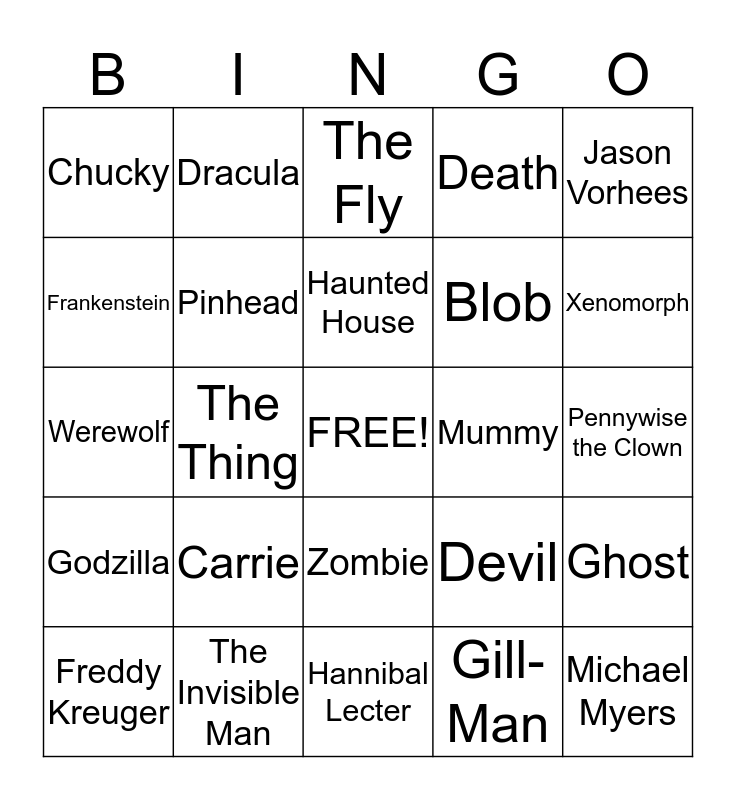 Monster Bingo Card