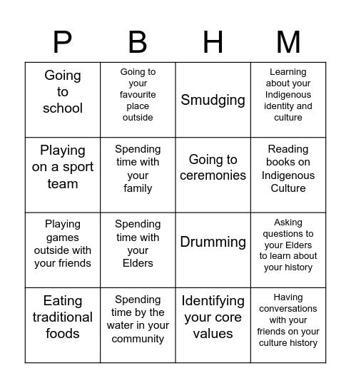 Wellness Wheel Bingo Card