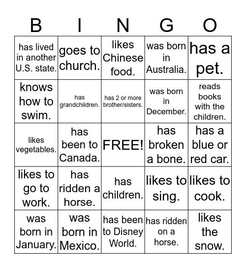Human Bingo. Find someone who......... Bingo Card