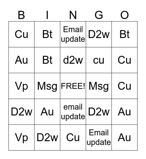 Team 22 Bingo Card