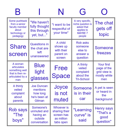 Gilman Faculty Zoom Bingo Card