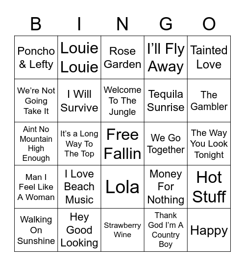 Music Bingo 4 Bingo Card
