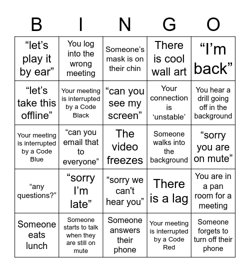 TEAMS BINGO Card