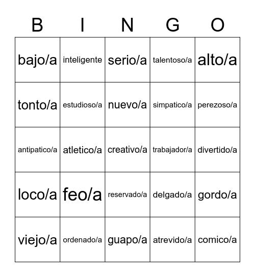 Adjetivos Bingo Card