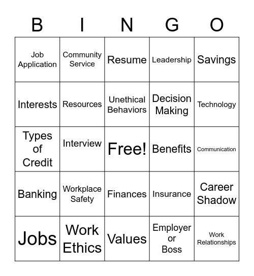 Work Based Learning Bingo Card