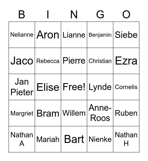 Namenbingo groep 4c Bingo Card