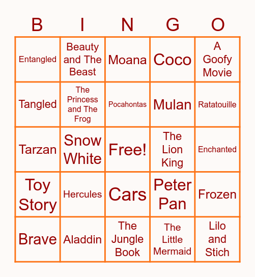 Disney Movie Songs! Bingo Card