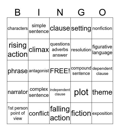 English 7 Vocabulary Bingo Card