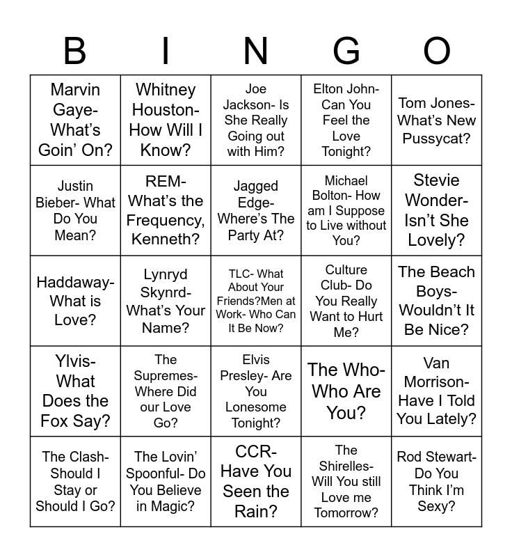 Total-Quiz.com Presents Radio Bingo: 25 Questions Bingo Card