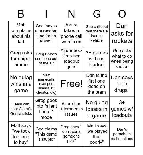Warzone Bingo Card