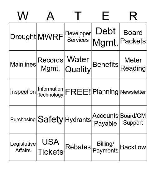 Mesa Water Bingo Card