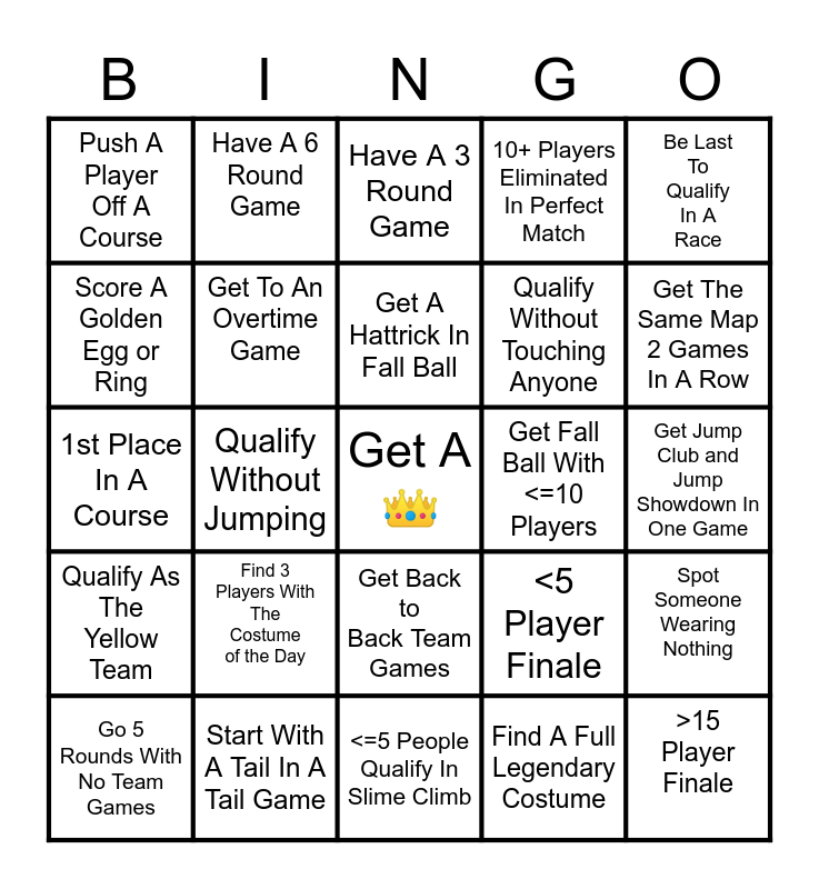Fall Guys Bingo Set 1 Bingo Card