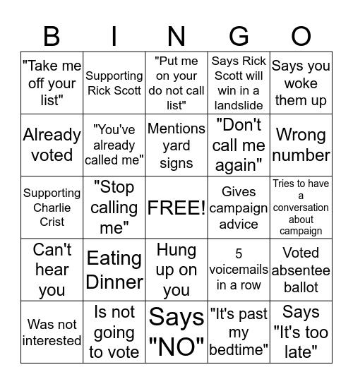 Phone Bank Bingo Card