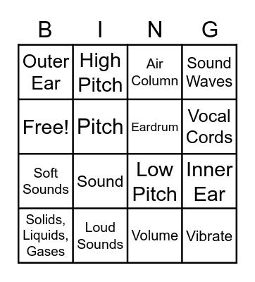 SOUNDS! Bingo Card