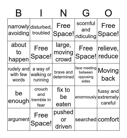 Vocab Words! Bingo Card