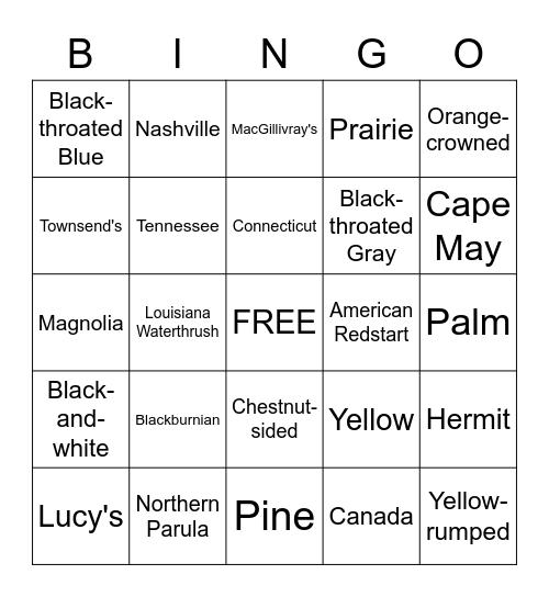 SCVAS Warbler Bingo Card