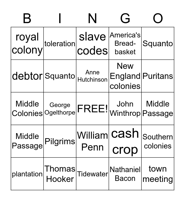 13 Colonies and More Bingo Card