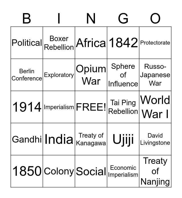 Imperialism Bingo Card