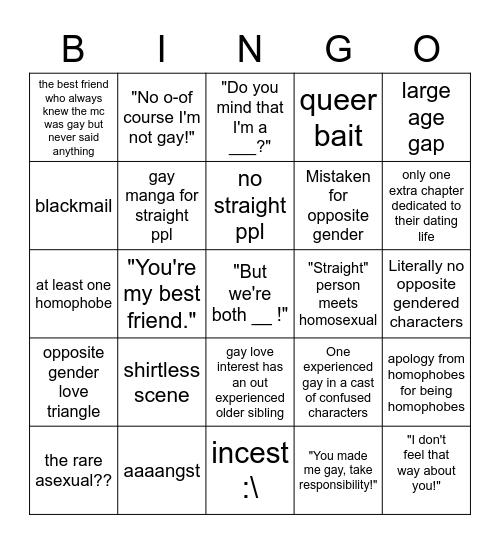 Gay Manga Bingo Card