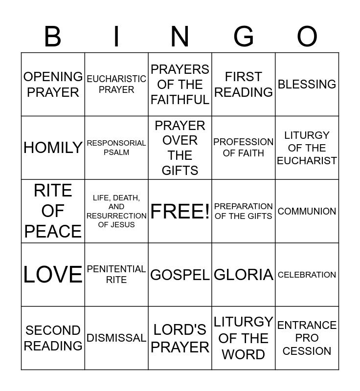 LITURGY Bingo Card