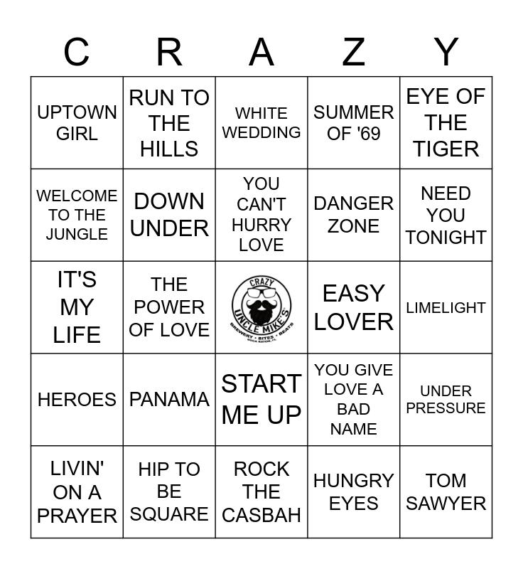 1980'S ROCK Bingo Card