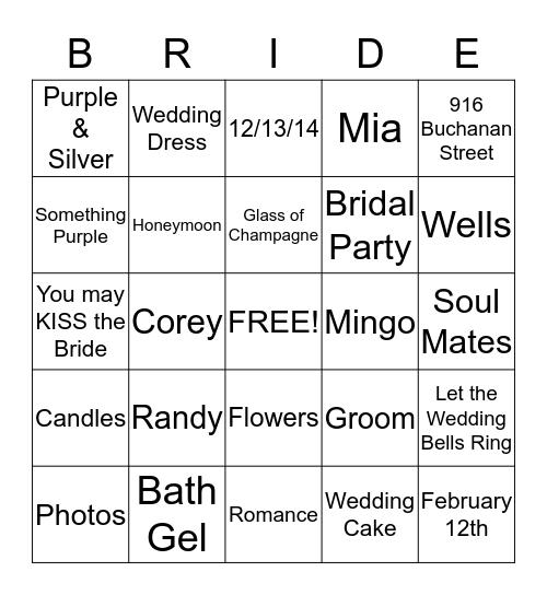 Tarrence & Cynthia Wedding 12-13-14 Bingo Card