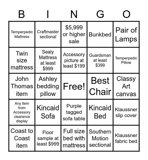 Sales Bingo Contest Bingo Card