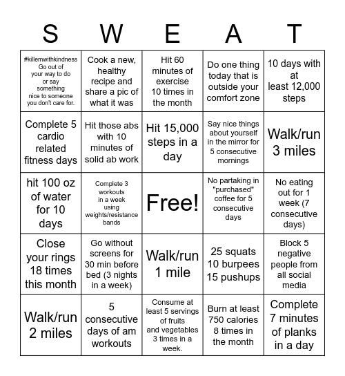 September Challenge (Better me, Better you) Bingo Card