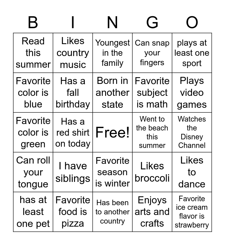 All About Me Bingo Card
