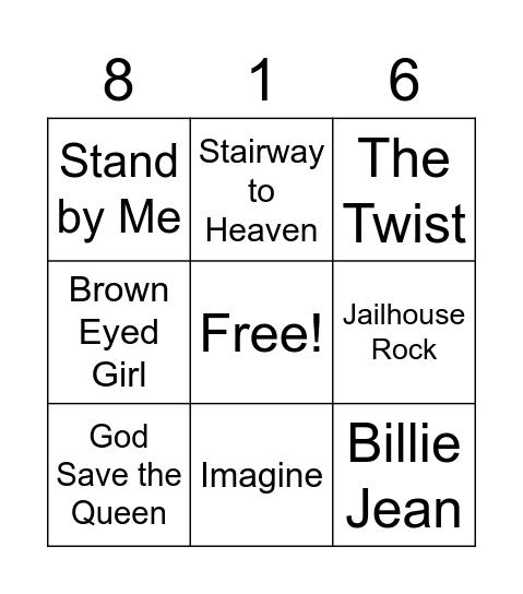 816 Quickie Bingo Card